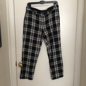 Black and white plaid crop dress pants